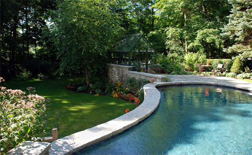 above elevation pool created with shotcrete