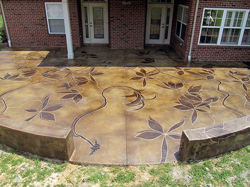 Backyard Patio Sports Acid Stained, Acid Staining Outdoor Concrete