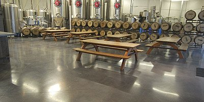 Polished concrete brewery floor