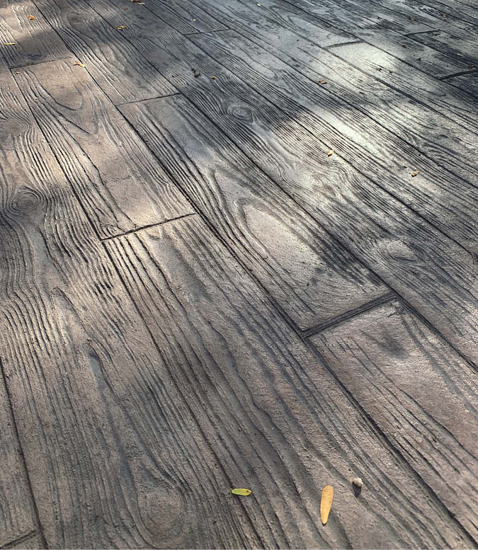 stamped concrete that looks like wood decking - stamped concrete is said to be the foundation of decorative concrete