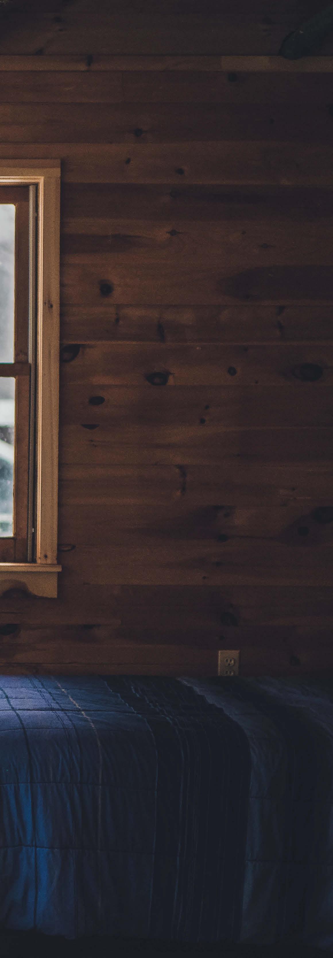 wood cabin walls - quarantine from covid-19