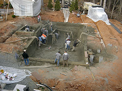 Workers installed 80 yards of shotcrete when constructing the pool.