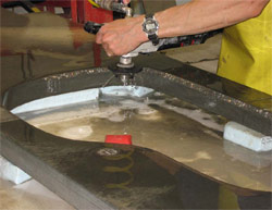 Profiling wheels run on standard polishers are usually used with water, which keeps the face cool. If they are used for dry polishing, they should be operated at about 500 rpm to 1,000 rpm to avoid overheating.