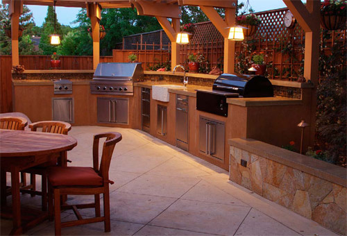 Concrete Countertops in an outdoor patio bring this backyard a new purpose.