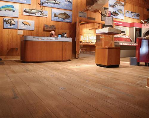 North Carolina Maritime Museum looks to have concrete floors installed that resembled original hemlock floors.