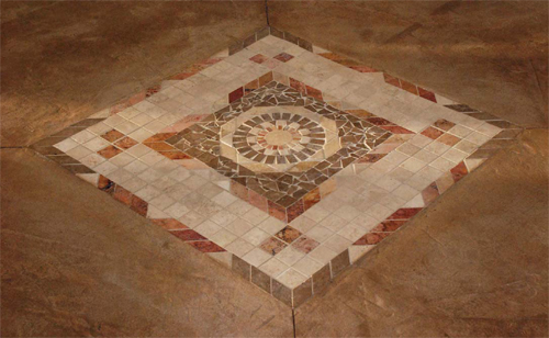 This 3-by-3 mosaic consists of pieces of stone bonded to a fabric.