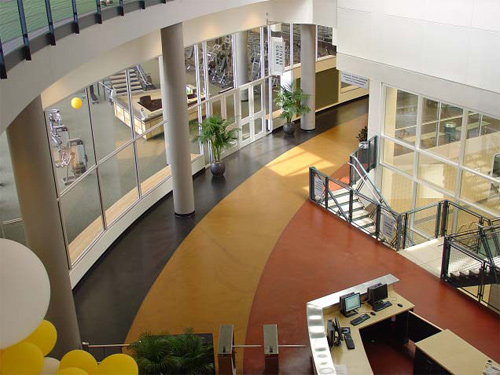 An aerial view of an office lobby that has been finished with polished concrete.