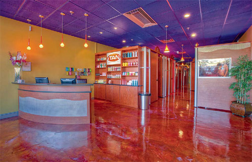 The iTan tanning studio in Norwalk, Conn., is one of many recent epoxy coating projects that stand out.
