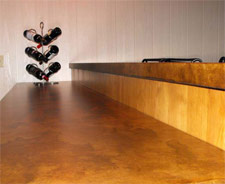 The epoxy and urethane combination used to seal this countertop gives it the stain protection of epoxy and the abrasion resistance of polyurethane.