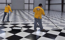 When the painting was completed, Hallack sealed the floor with three coats of Miracote Mirapoxy WB, a two-component, chemically resistant, water-based epoxy floor coating system.