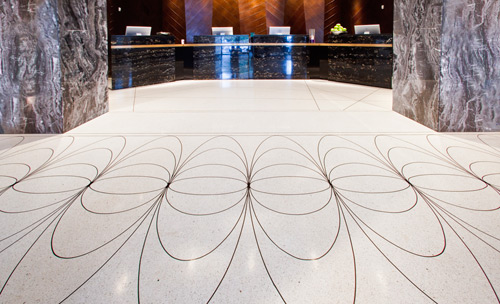 For an upscale hotel like the W in Miami Beach, elegance is anything but optional. This effect, using incredibly simple ingredients, provides a deliciously luxe look for the lobby.