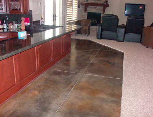 Hotel breakfast bar towers over stained concrete
