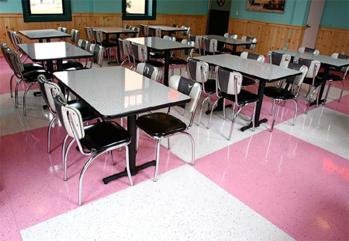 1950s diner checkered pink and white epoxy floors