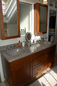 Concrete countertop transforms this bathroom vanity.