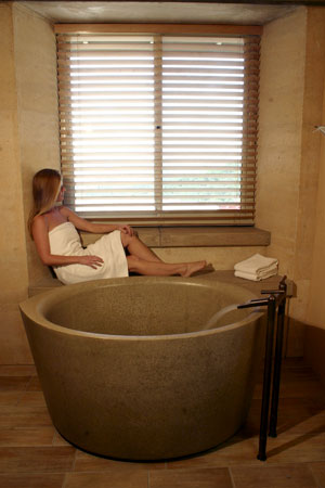 Sonoma Cast Stone offers Ofuro, its own version of a Japanese soaking tub.