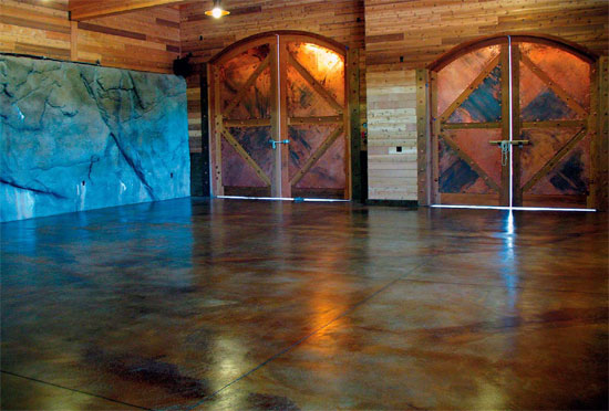 Finished concrete floor that has had a reactive stain applied to it.