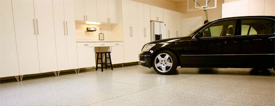 Garage floor system installed in this well-organized garage.
