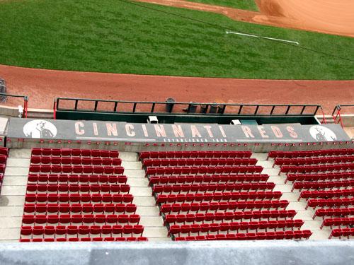 Dugout roof of the Cincinnati Reds.