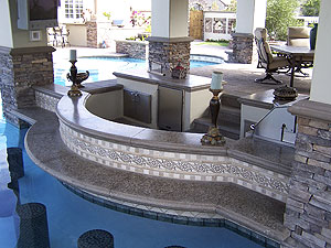 Swim up concrete countertop bar top.