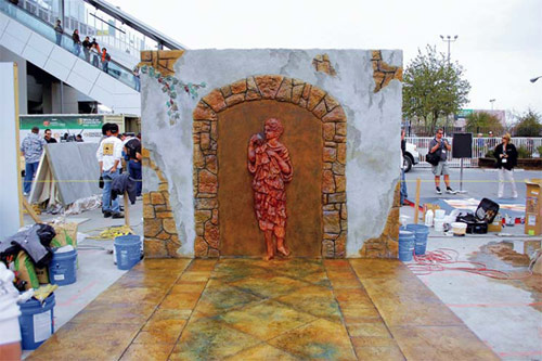 Cindee's Custom Creations Inc., of Perham, Minn., created this piece for the Artistry in Decorative Concrete exhibition at World of Concrete 2009. It features vertical and horizontal overlayments.