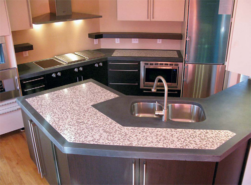 Decorative kitchen countertops made by Counterpart LLC, located in Raleigh, N.C. Counterpart uses CSA cement exclusively.