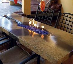 Barbecue island and fire table inNorthridge, Calif.