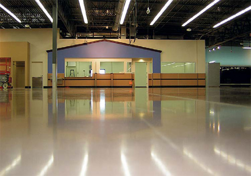 Polished concrete floor in a large retail chain.