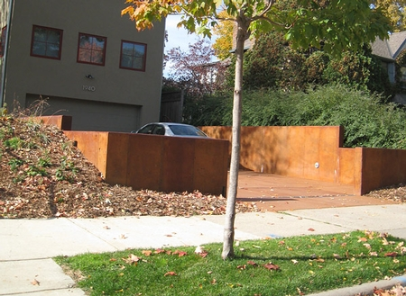 stained concrete retaining walls