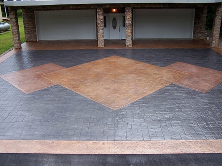 Stained concrete patio with geometric patterns.