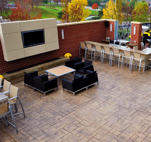 An outdoor lounge at the Sheraton Hotel in Overland Park, Kan., stamped and integrally colored by Artistic Concrete Surfaces Inc., based in nearby Olathe.