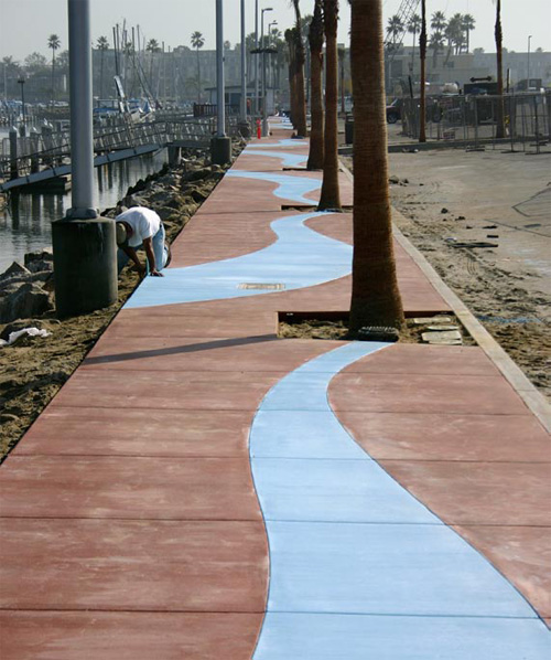dock of the Oceanside Outrigger Canoe Club, in Oceanside, Calif. The project utilized Davis Colors' Euroblue in a wave pattern along with Davis' Brick Red.