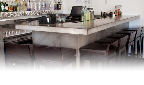 Concrete bar top in a New York City restaurant created using Cheng Design mix GFRC by JM Lifestyles