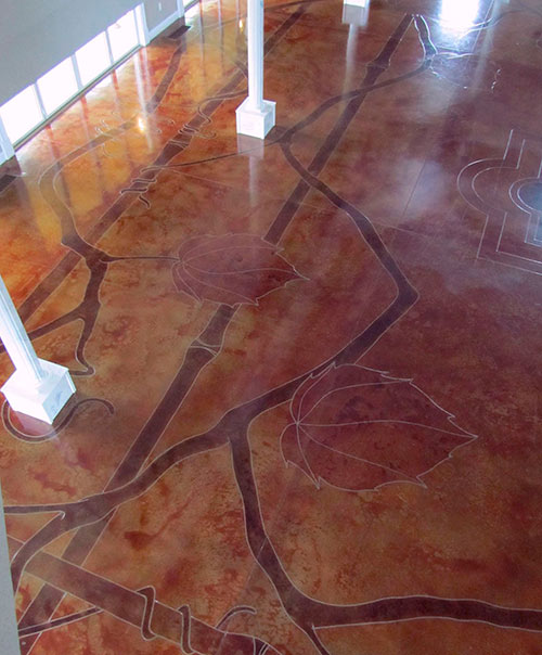 At the DelMonaco WInery, in Baxter, Tenn., Rick Lobdell engraved and colored more than 20 leaves on the floor. Each leaf is about 3 feet by 4 feet in size.