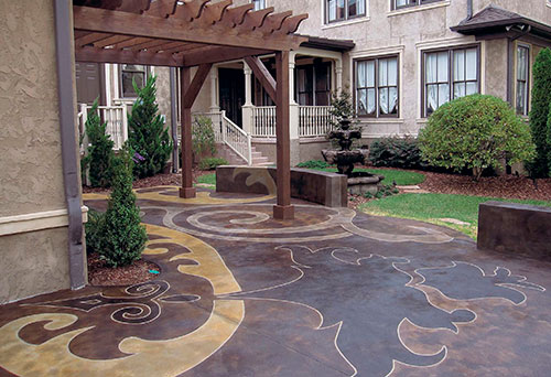 Liz Dishman's patio, in Nashville, Tenn. The pattern was inspired by a piece of fabric provided by the customer.