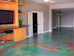Unlike traditional acid stains, water-based stains do not have an acid residue that needs to be washed off.