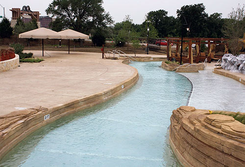 A lazy river surrounded by sediment looking layered concrete. Walker, 43, took a nontraditional route to decorative concrete company ownership. Growing up on a family farm, Walker was accustomed to labor and working with his hands. However, he did not pursue construction as a profession. Instead, he entered the world of sales and marketing after college and did outside sales and management in the metal industry for 10 years.