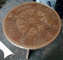 Incorporating Proline's most popular medallion design, the Compass Rose, the tabletop mold is 4 feet in diameter and produces a 2-inch-deep tabletop.