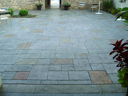 A large stamped concrete patio and how to recreate.