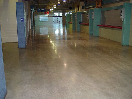 The company spent nearly eight weeks polishing 102,000 square feet, starting with a 40-grit dry polish and taking it all the way up to 3,000 grit.