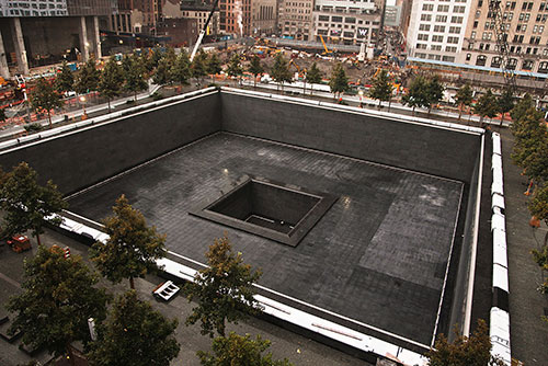 A closer look at the memorial fountain at the September 11 Twin Towers site.