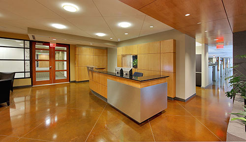 A lobby space that has stained concrete floors with control joints in a lighter color.