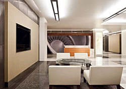 responsible for about 9,000 square feet of polished concrete floors in the two office building lobbies on Parcel A
