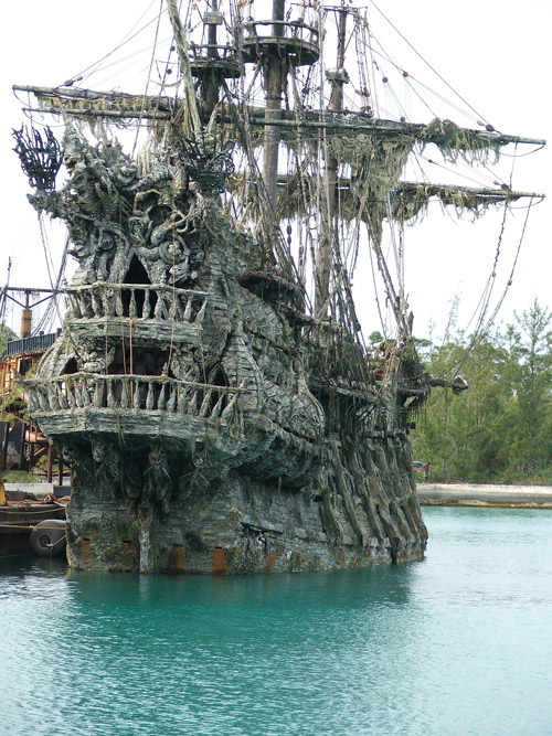 Concrete pirate ship in the Pirates of the Caribbean movie made with decorative concrete overlays