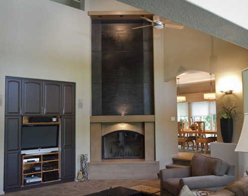 18-foot fireplace in a Modesto has a leather-like appearance
