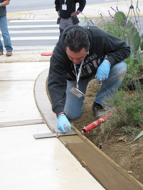 Control Finished used in dry Texas air on decorative concrete border.