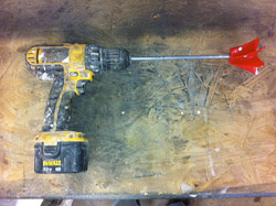 An example of the drill and mixing blade Jeff Kudrick uses to mix concrete sealers.