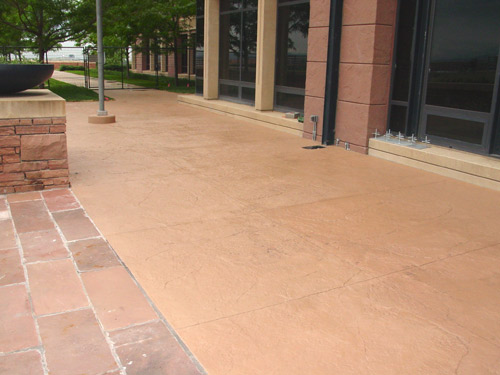 Exterior stamped concrete revitalized with a solid-color stain. Photo by Chris Sullivan