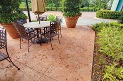 Concrete patio with stamped and stained concrete.