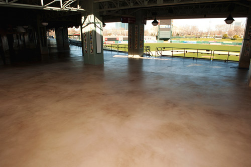 A crew led by Warren Ruben, owner of El Dorado Hills, Calif.-based decorative concrete design and installation company Artistry in Concrete, installed 50,000 square feet of coatings using products manufactured by Miracote, including Miracote RT (RenewTop), the company's new spray-on cementitious overlay.