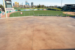 Pleased with the results, Savage contracted Ruben to resurface the stadium's U-shaped concourse — a 50,000-square-foot covered outdoor facility that is home to crowds of fans on game days and often rented out for special events.